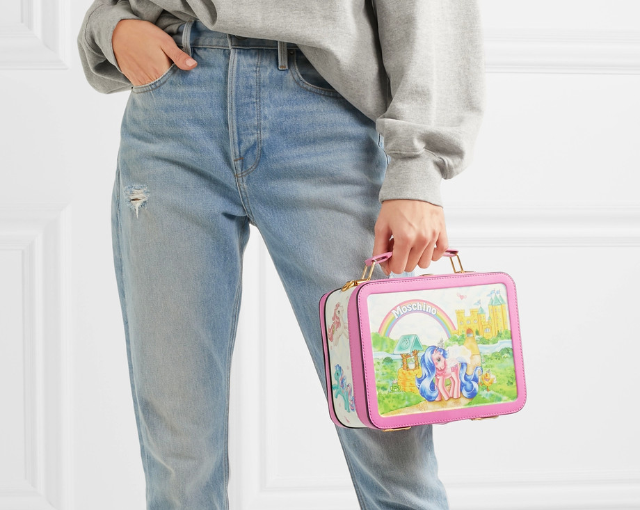 Moschino My Little Pony Lunchbox printed leather shoulder bag