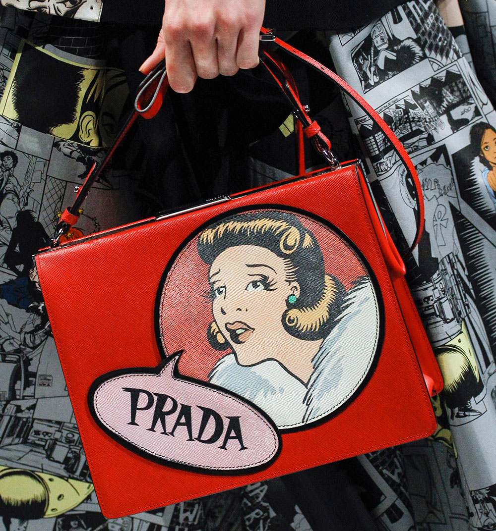 prada 39 s spring 2018 runway bags included lots of nylon and a cast of female comic heroes purseblog. Black Bedroom Furniture Sets. Home Design Ideas