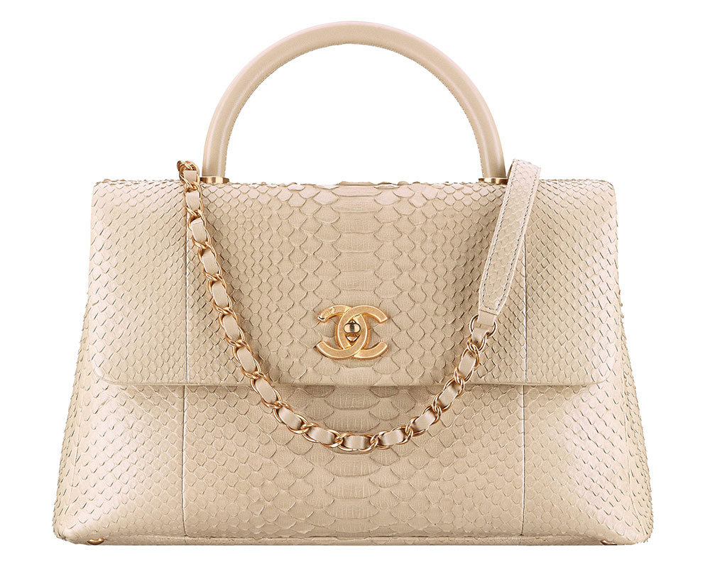 5f599ae205 Chanel-Flap-Bag-with-Top-Handle-Python-Beige-7300 - PurseBlog