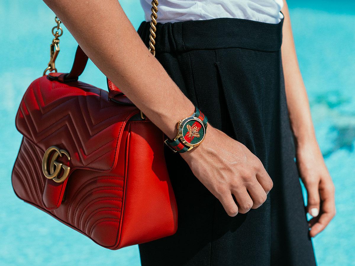 e885bda5319 A Close Look at the Amazing Details of Gucci Handbags and Timepieces ...