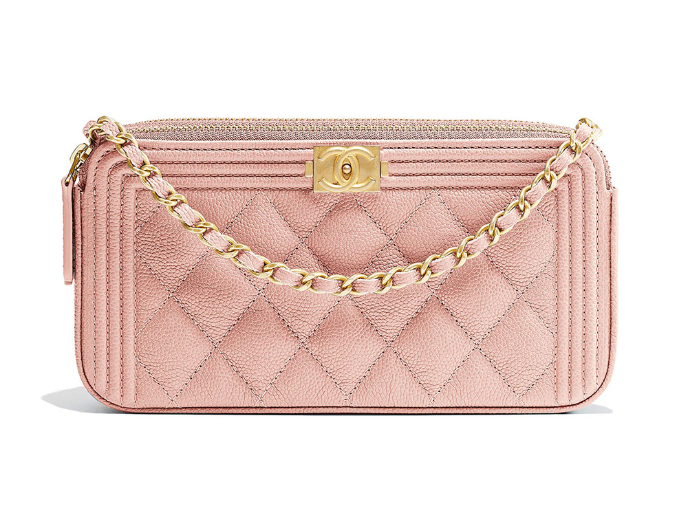 351863b86400 Chanel-Boy-Clutch-with-Chain-Pink-1750 - PurseBlog