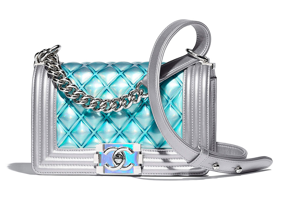 Chanel Small Boy Bag Iridescent Blue 4500