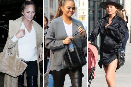 """If """"Accessorizing the Bump"""" is a Thing, Chrissy Teigen's Pregnancy Bag Game Does it Flawlessly"""