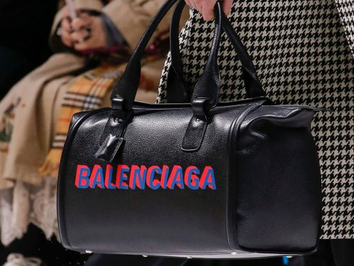 Loud Logos and Puppy Prints Dominated a Balenciaga Bag Collection with a Charitable Twist