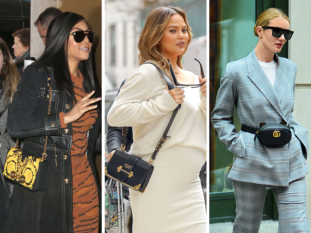 5a32868f0489 Celebs Choose Black and Gold (or Glittery) Bags from Prada, Versace and  Valentino