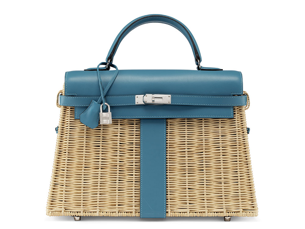 a862f3f505a7 Hermès, 2013 A Rare, Turquoise Swift Leather & Osier Picnic Kelly with  Palladium Hardware. Estimate : USD 20,000 - 25,000.