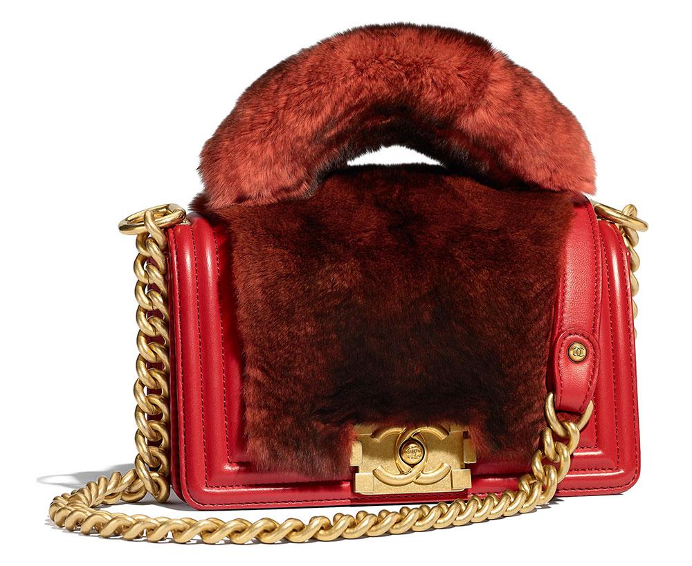 b4c40863038e Chanel-Boy-Bag-with-Handle-Fur-Red-5200 - PurseBlog