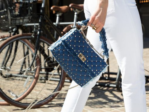 Daring in Denim: We Can't Get Enough of the Valentino Rockstud Chain Bag