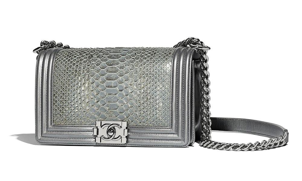a33a90e28a6b89 Chanel-Boy-Bag-Silver-Python-7200 - PurseBlog