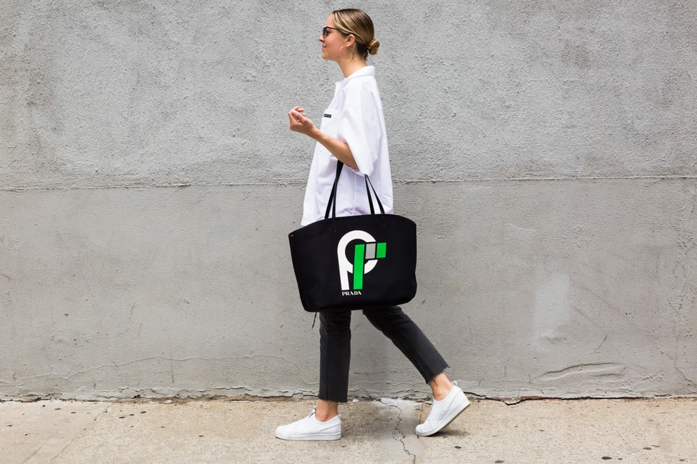 Prada Large Canvas Tote with Logo 32862be2a5b9d