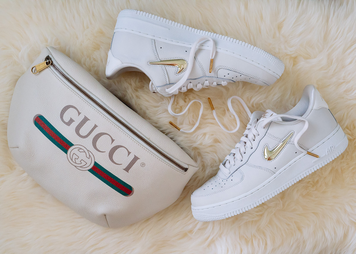 4c79fa040d3380 Perfect Pairs  Gucci Printed Belt Bag and Nike Air Force 1 Low Top Sneakers