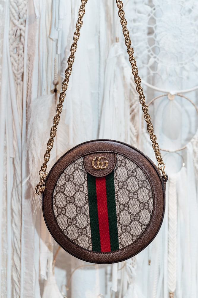 39c76d5d6dad22 The Gucci Ophidia Mini Round GG Shoulder Bag is small, as its name  suggests, with overall dimensions of 7″W x 7″H x 2″D. Though not ...