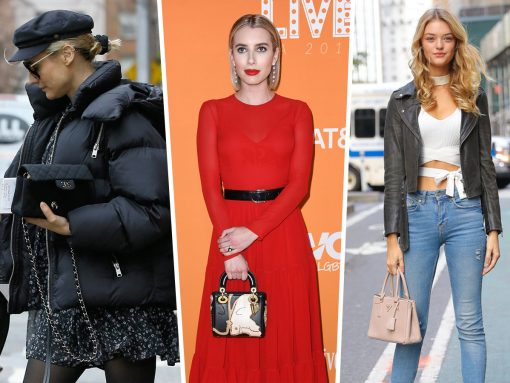 Celebs Keep Warm During Pre-Fall While Carrying Bags from Prada and Versace