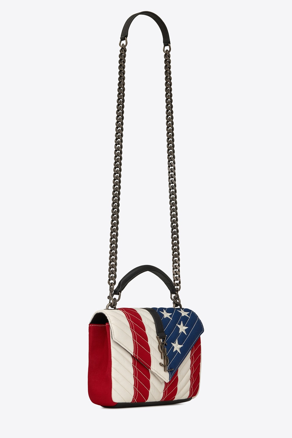e2e1809178 It's a bird, it's a plane, it's flying flag? Nope it's just the Saint  Laurent Medium College Bag in American Flag Patchwork. You're not seeing  stars my ...