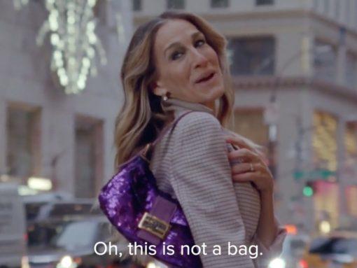 Carrie Bradshaw Purple Sequin Fendi Baguette