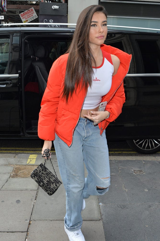 1a2b5ddda15e Finally, we have Madison Beer, out and about in London with a  rhinestone-embellished Chanel Double Flap Bag.