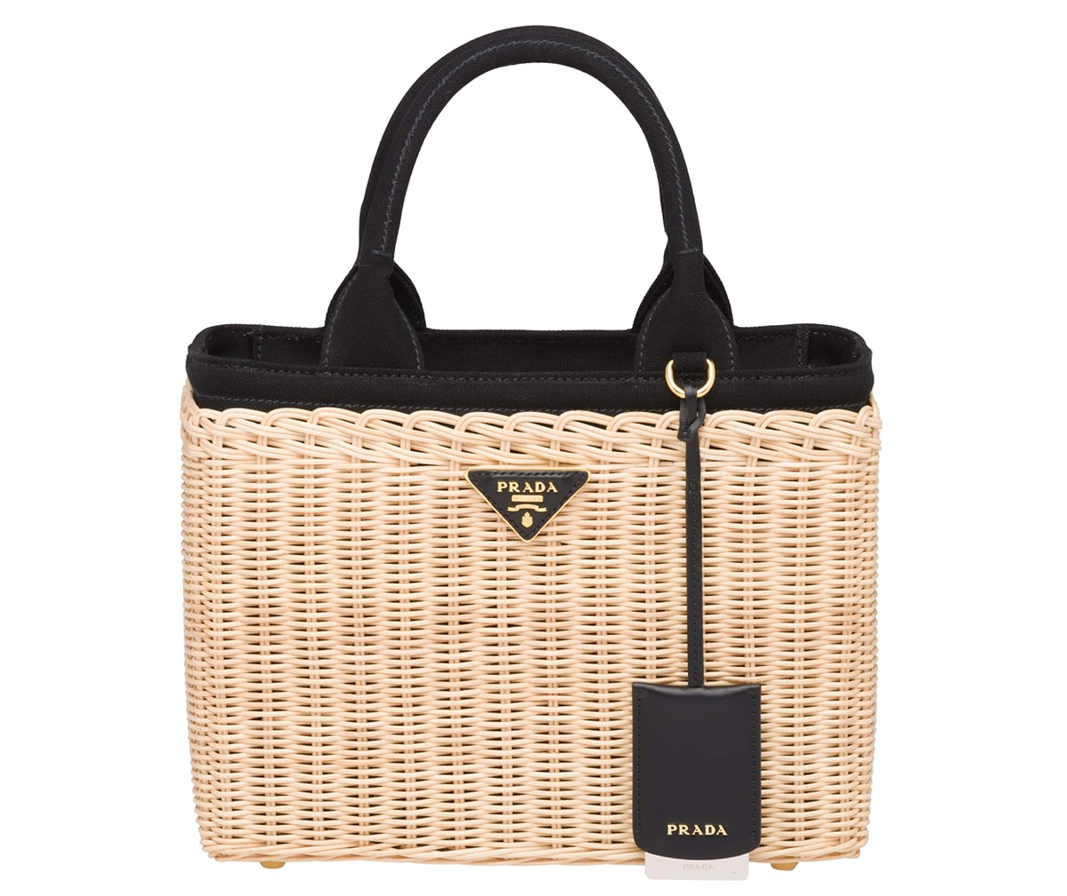 Prada Wicker and Canvas Handbag