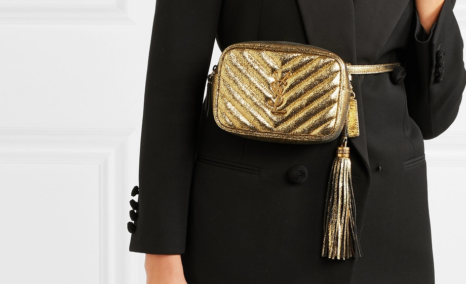 Saint Laurent Lou Quilted Metallic Cracked-Leather Belt Bag