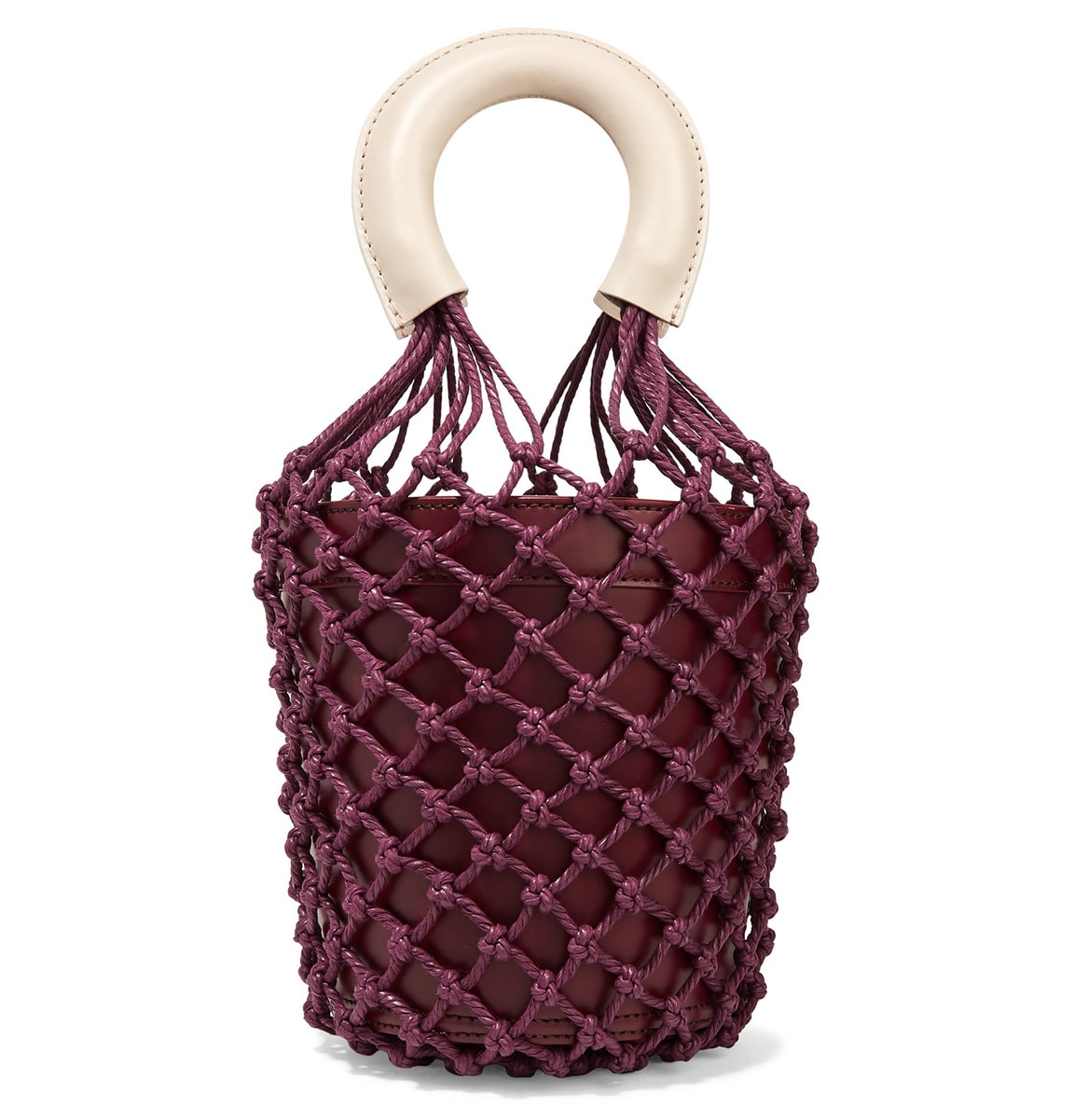 Staud Moreau Leather and Macrame Bucket Bag