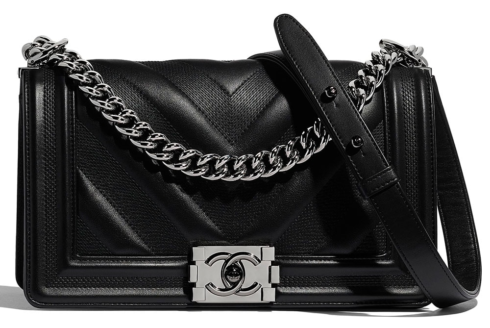 6b96e484793d6 Medium Boy Chanel in Black Calfskin & Ruthenium-Finish Metal $5,200