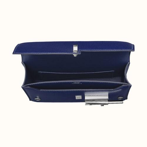 Verrou Chaine Mini Bag in Blue Encre, inside view. Photo courtesy of Hermes.com.