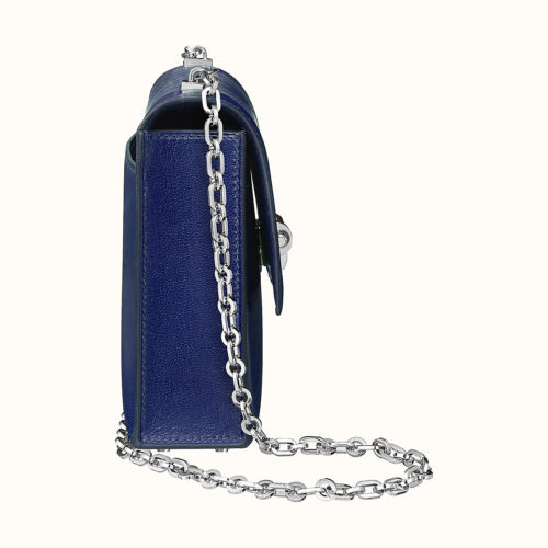 Verrou Chaine Mini Bag in Blue Encre, side view. Photo courtesy of Hermes.com.