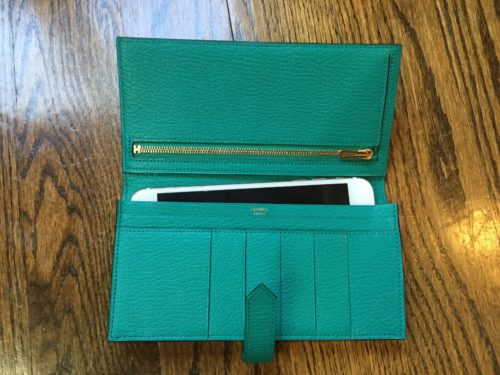 Bearn Wallet in Blue Paon Chèvre. Inside you can fit a smaller model iPhone
