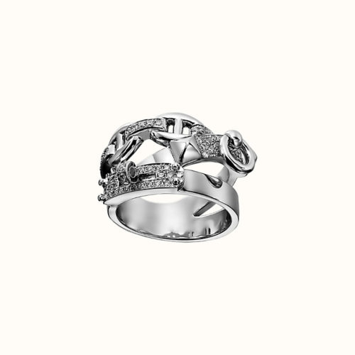 Alchimie Hermès Ring in White Gold with Diamonds