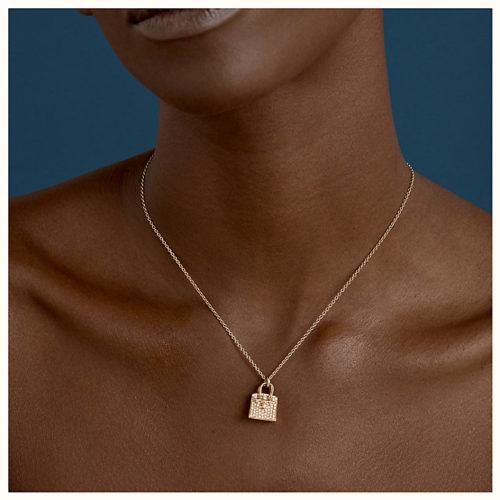 Birkin Amulette Pendant in Rose Gold with Diamonds