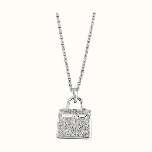 Kelly Amulette Pendant in White Gold with Diamonds