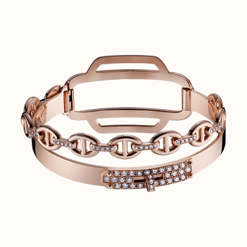 Kelly Bracelet Double Tour in Rose Gold with Diamonds
