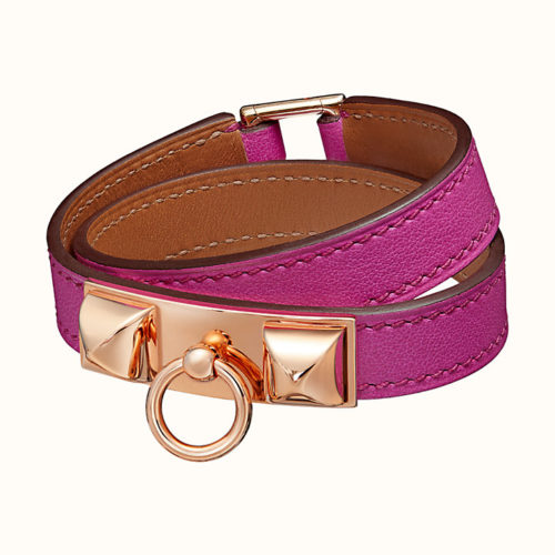 Rivale Double Tour Bracelet in Magnolia with Rose Gold Hardware