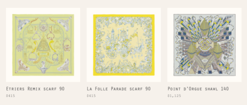 Scarves in the LU Color Family. Photo courtesy of Hermes.com
