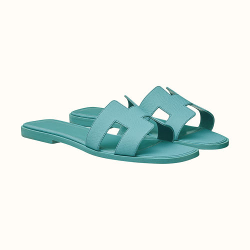 Oran Sandals in Blue Littoral Epsom. Photo courtesy of Hermes.com