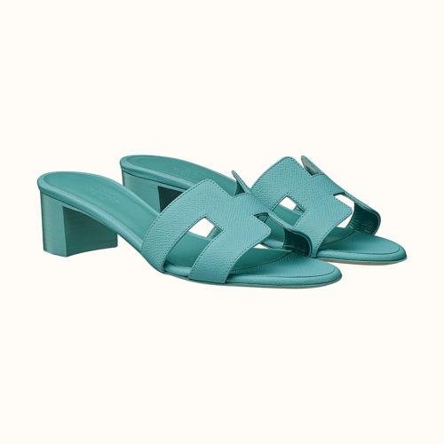Oasis Sandals in Blue Littoral Epsom. Photo courtesy of Hermes.com
