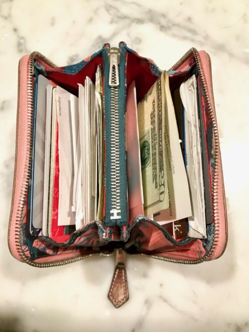 My VERY used Silk'In Wallet in Rose Confetti Epsom. Used daily for four years.