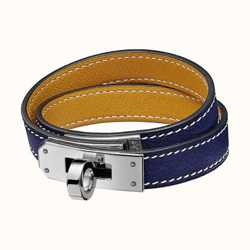 Kelly Double Tour Bracelet in Bleu Encre/Ambre. Photo courtesy of Hermes.com