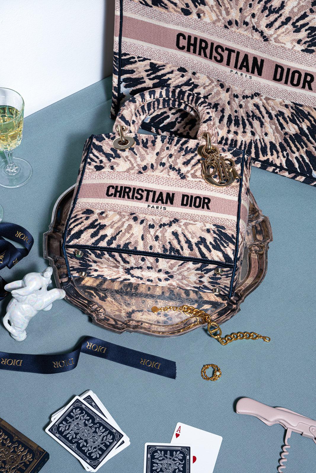 Medium Lady D-Lite Bag in Multicolor Tie & Dior Embroidery