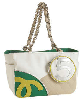 Chanel Green 5 Canvas Medium Tote