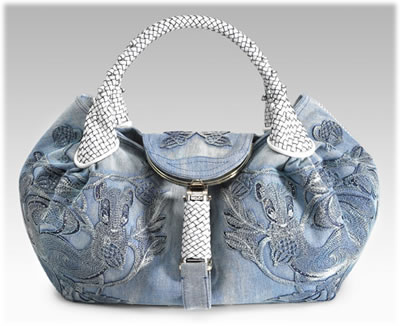 Fendi Embroidered Denim Spy Bag