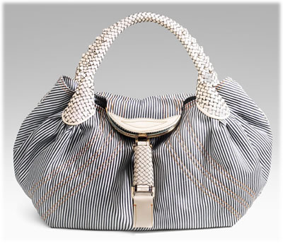 Fendi Striped Denim Spy Bag