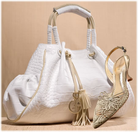 Giorgio Armani Croc Embossed Tote and Embellished Satin Halter