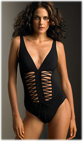 Karla Colletto Lace Up Swimsuit
