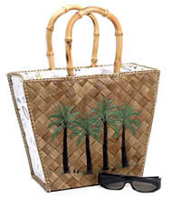 Lois Hill Palm Tree Straw Tote