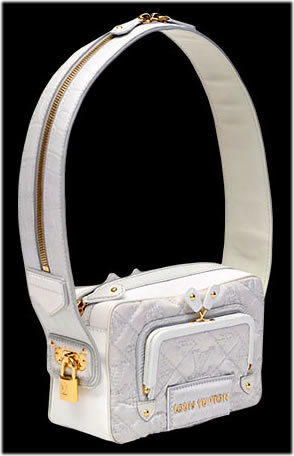 Louis Vuitton Quilted silk bag with alligator trim