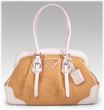 Prada Straw and Leather Frame Bag
