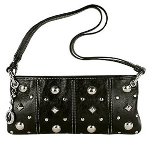 Roccobarocco Piccadilly Black Studded Leather Baguette Bag
