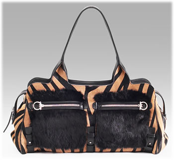 Salvatore Ferragamo Fur Trim Haircalf Bag