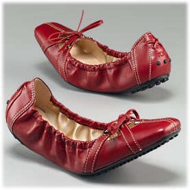 Tods Smooth Leather Cindy Ballerina Shoes