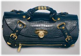 Versace Canyon Medium Denim Croc Bag